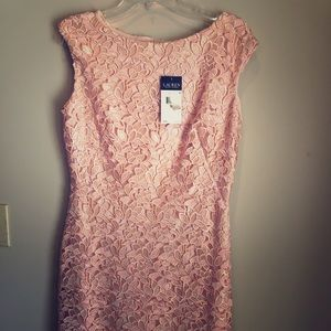 Pink lace stretchy knee length dress NWT